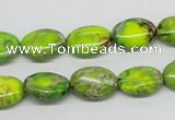 CDT92 15.5 inches 10*14mm oval dyed aqua terra jasper beads