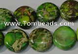 CDT937 15.5 inches 16mm flat round dyed aqua terra jasper beads