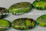 CDT941 15.5 inches 15*30mm oval dyed aqua terra jasper beads