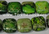 CDT945 15.5 inches 16*16mm square dyed aqua terra jasper beads