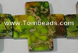 CDT954 15.5 inches 45*45mm cross dyed aqua terra jasper beads