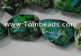 CDT961 15.5 inches 18*20mm nuggets dyed aqua terra jasper beads