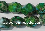 CDT964 15.5 inches 14*17mm faceted nuggets dyed aqua terra jasper beads