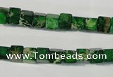 CDT969 15.5 inches 6*6mm cube dyed aqua terra jasper beads