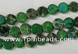 CDT970 15.5 inches 7mm flat round dyed aqua terra jasper beads