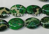 CDT972 15.5 inches 13*18mm oval dyed aqua terra jasper beads
