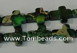 CDT978 15.5 inches 12*16mm cross dyed aqua terra jasper beads
