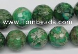 CDT98 15.5 inches 14mm faceted round dyed aqua terra jasper beads