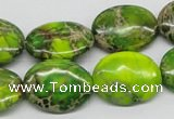 CDT99 15.5 inches 13*18mm oval dyed aqua terra jasper beads