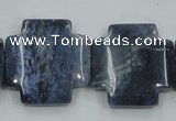 CDU05 15.5 inches 25*25mm cross natural blue dumortierite beads