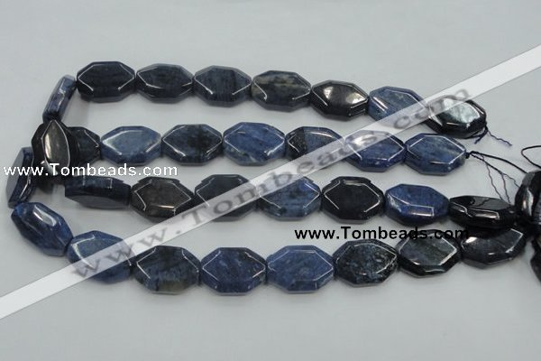 CDU06 15.5 inches 18*25mm octagonal natural blue dumortierite beads