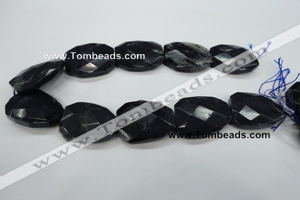 CDU10 32*40mm twisted & faceted rectangle natural blue dumortierite beads