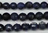CDU111 15.5 inches 6mm faceted round blue dumortierite beads