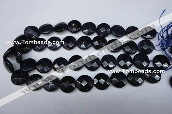 CDU126 15.5 inches 20mm faceted coin blue dumortierite beads