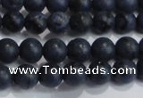 CDU201 15.5 inches 6mm round matte blue dumortierite beads