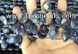 CDU222 Top drilled 10*14mm faceted briolette dumortierite beads