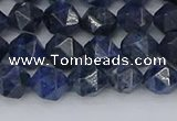 CDU330 15.5 inches 6mm faceted nuggets blue dumortierite beads