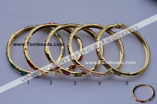 CEB01 5pcs 5.5mm width gold plated alloy with enamel bangles wholesale