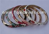 CEB04 5pcs 6mm width gold plated alloy with enamel bangles wholesale