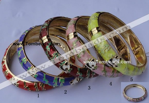 CEB07 5pcs 11.5mm width gold plated alloy with enamel bangles wholesale