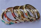 CEB08 5pcs 10mm width gold plated alloy with rhinestone & enamel bangles
