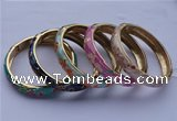 CEB09 5pcs 11.5mm width gold plated alloy with enamel bangles wholesale