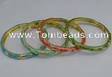 CEB102 6mm width gold plated alloy with enamel bangles wholesale