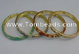 CEB104 7mm width gold plated alloy with enamel bangles wholesale