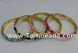 CEB106 7mm width gold plated alloy with enamel bangles wholesale