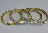 CEB108 7mm width gold plated alloy with enamel bangles wholesale