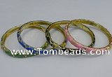 CEB111 6mm width gold plated alloy with enamel bangles wholesale