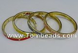 CEB113 7mm width gold plated alloy with enamel bangles wholesale