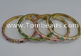 CEB114 6mm width gold plated alloy with enamel bangles wholesale