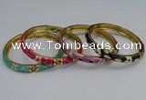 CEB116 7mm width gold plated alloy with enamel bangles wholesale