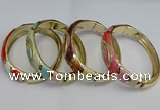 CEB123 16mm width gold plated alloy with enamel bangles wholesale