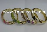 CEB124 16mm width gold plated alloy with enamel bangles wholesale