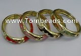 CEB132 16mm width gold plated alloy with enamel bangles wholesale