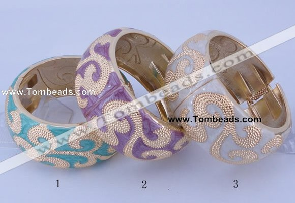 CEB27 5pcs 32mm width gold plated alloy with enamel bangles
