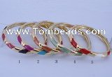 CEB28 5pcs 7mm width gold plated alloy with enamel bangles