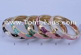 CEB32 5pcs 10mm width gold plated alloy with enamel bangles