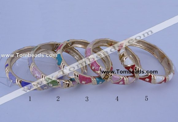 CEB34 5pcs 12mm width gold plated alloy with enamel rhinestone & bangles