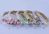 CEB37 5pcs 12mm width gold plated alloy with enamel rhinestone & bangles