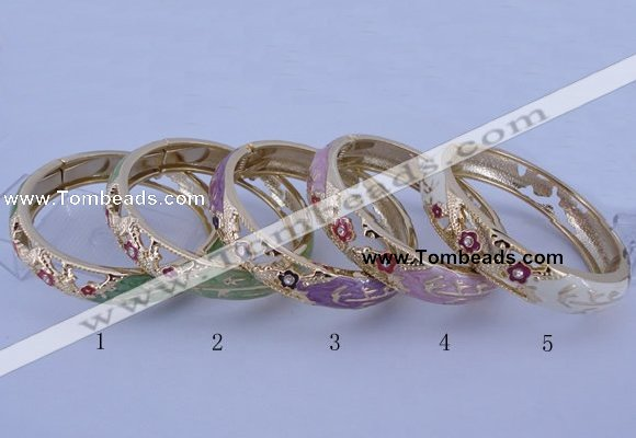 CEB38 5pcs 14mm width gold plated alloy with enamel rhinestone & bangles