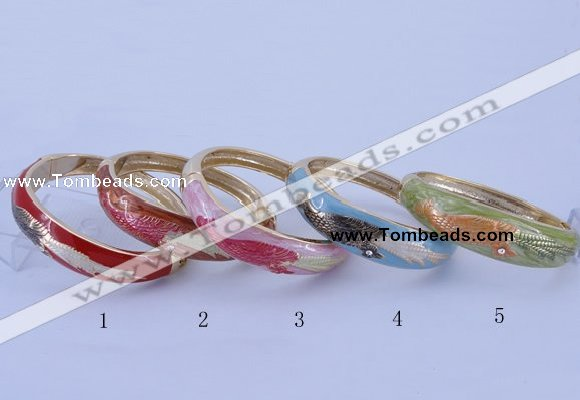 CEB42 5pcs 17mm width gold plated alloy with enamel rhinestone & bangles