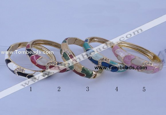 CEB43 5pcs 17mm width gold plated alloy with enamel rhinestone & bangles