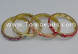 CEB50 7mm width gold plated alloy with enamel bangles wholesale