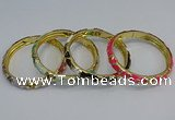 CEB51 7mm width gold plated alloy with enamel bangles wholesale