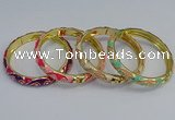 CEB52 7mm width gold plated alloy with enamel bangles wholesale