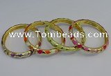 CEB53 7mm width gold plated alloy with enamel bangles wholesale