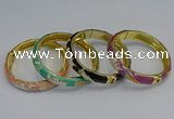 CEB59 9mm width gold plated alloy with enamel bangles wholesale